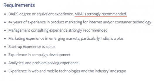 Consumer product marketing manager job posting screenshot