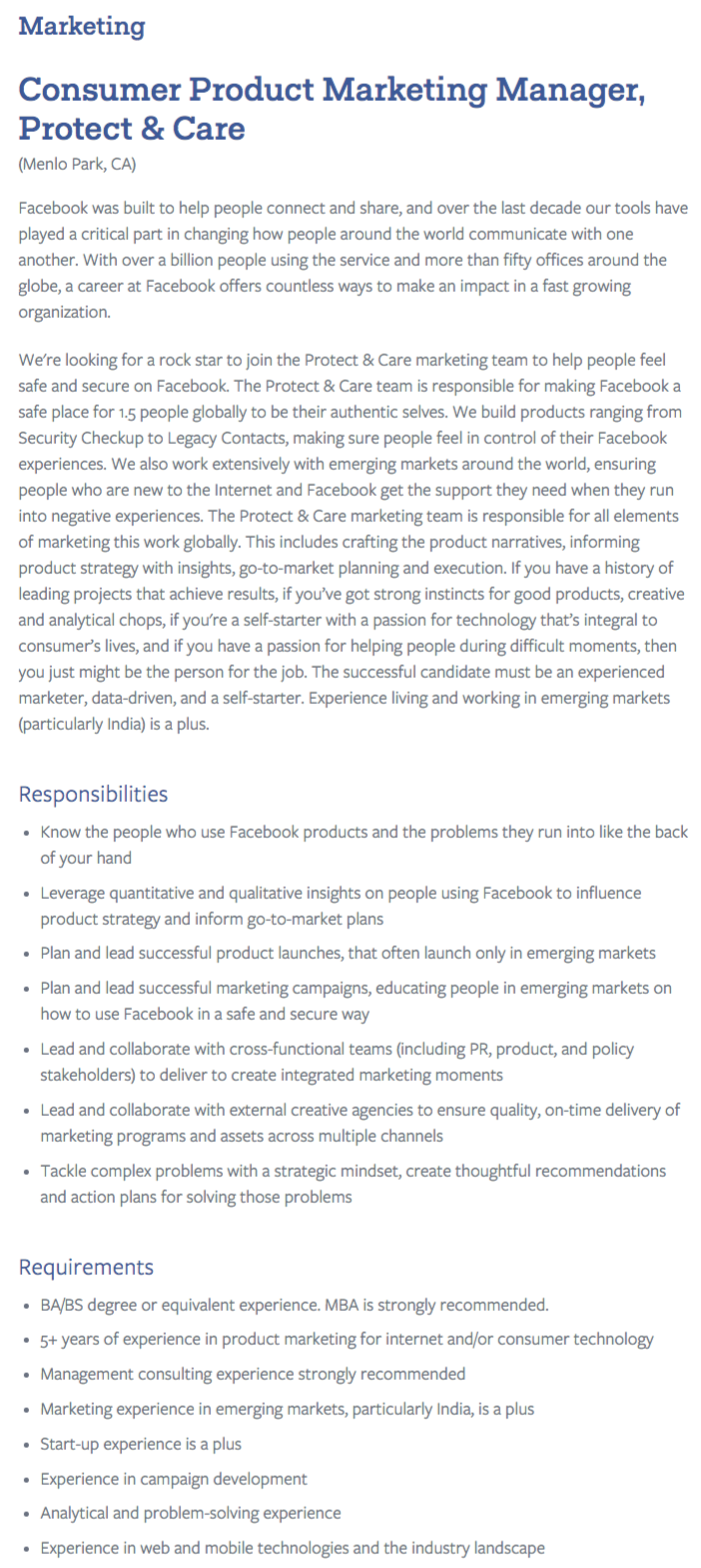 sheryl sandberg is wrong silicon valley wants mbas tapwage job consumer product marketing manager job posting screenshot