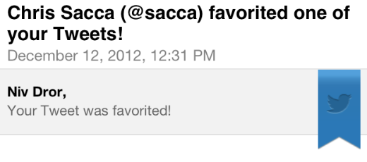 Image showing that Chris Sacca favorited one of Niv Dror's tweets