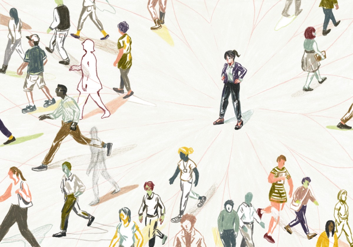illustration by Sally Deng of a lady in the middle with the crowd milling around in different directions