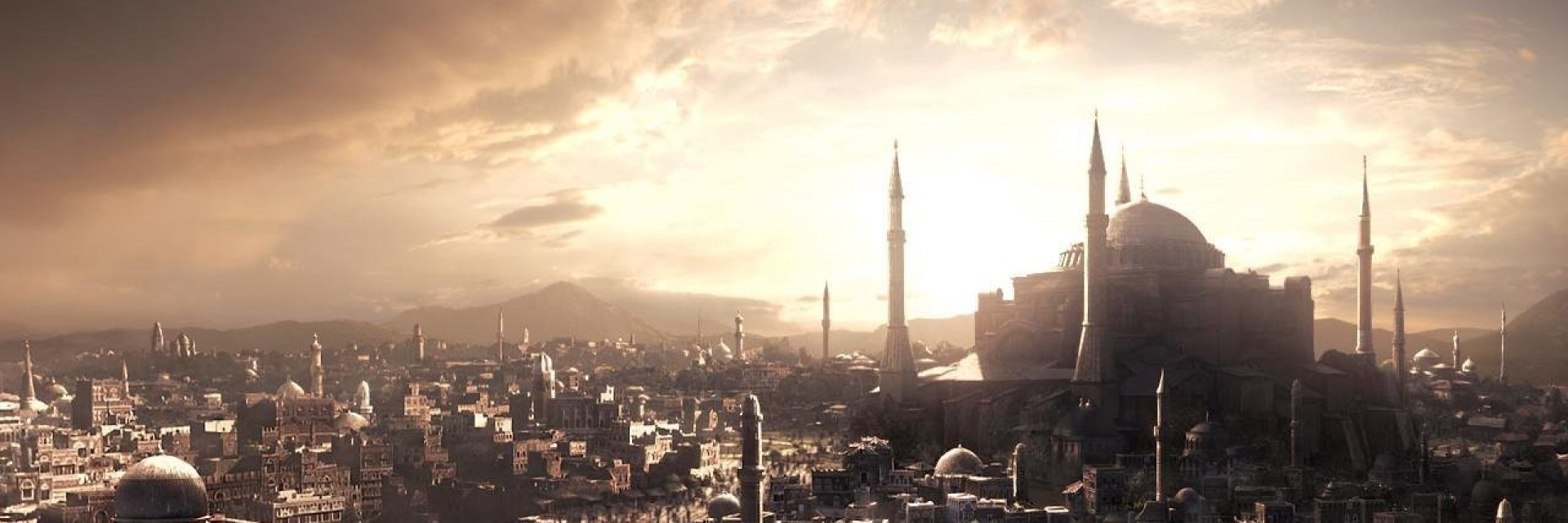 A screenshot from the video game Civilization depicting a medieval middle eastern city with a dome with 4 towering minarets in the distance