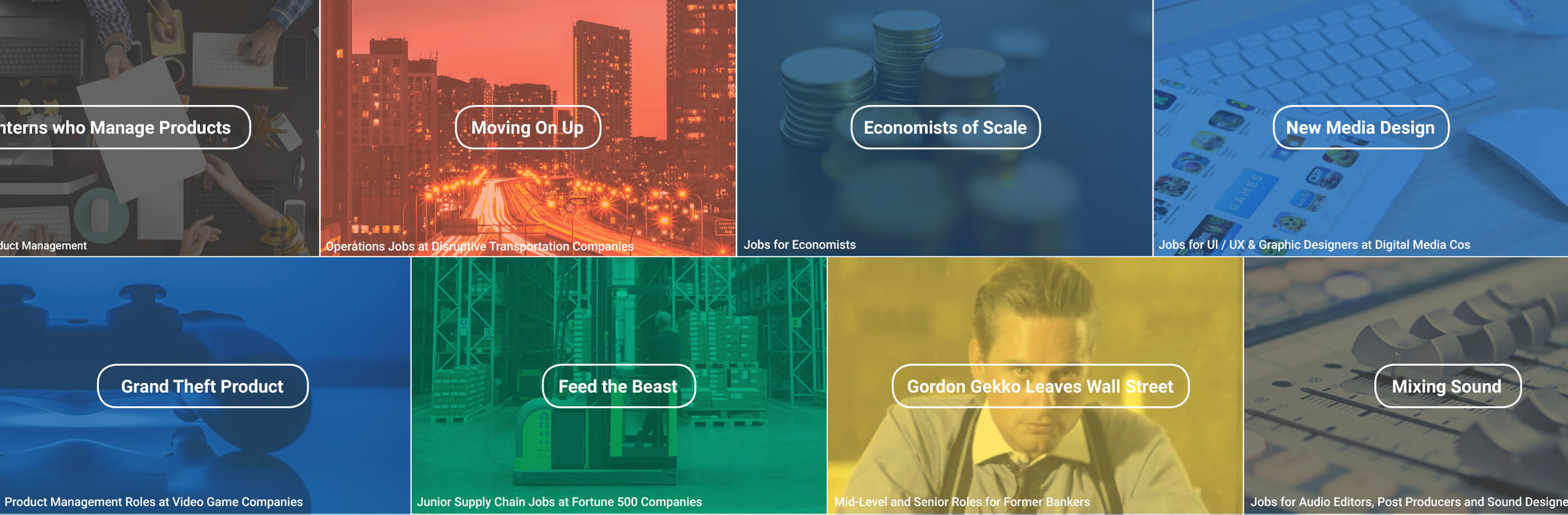 Tapwage images showing different curated job channels including Gordon Gekko goes to Wall Street and Grand Theft Product