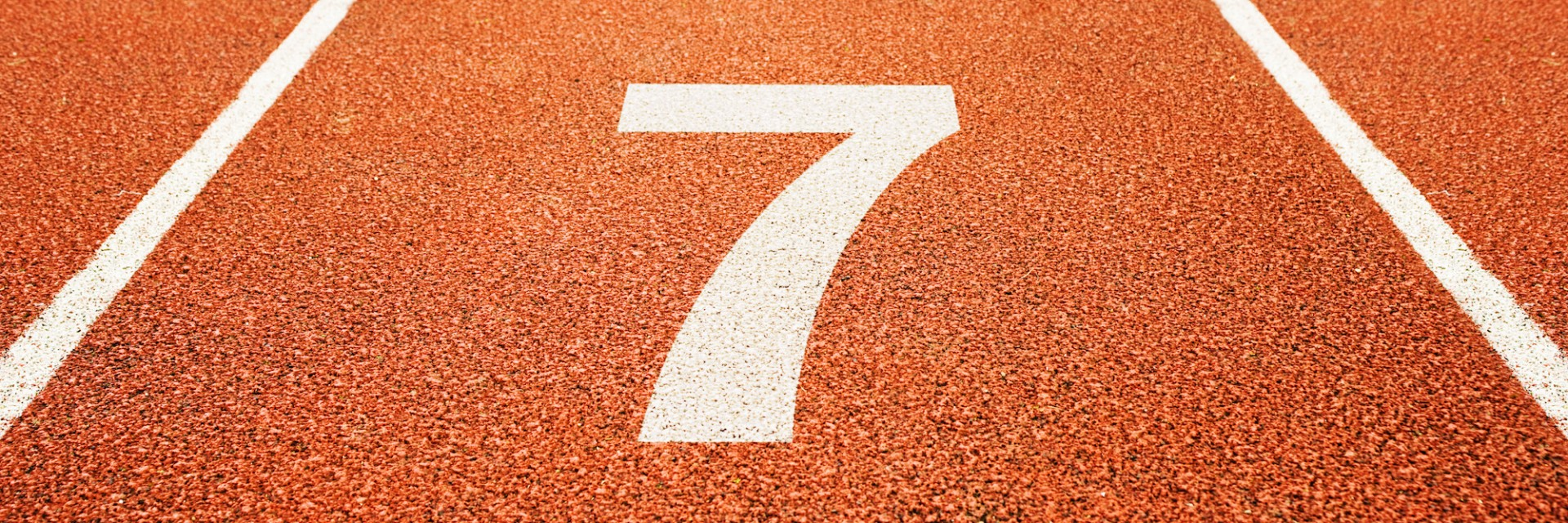 The number 7 on an athletic track